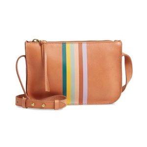 🆕 Madewell Desert Camel Stripe Crossbody Bag NWT